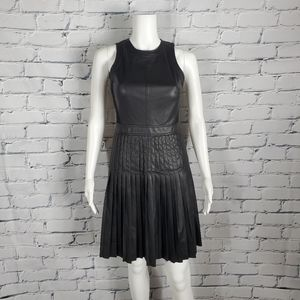 Rebecca Taylor Black Faux Leather Pleated Dress